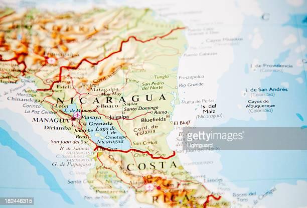 mapa de nicaragua - nicaragua fotografías e imágenes de stock