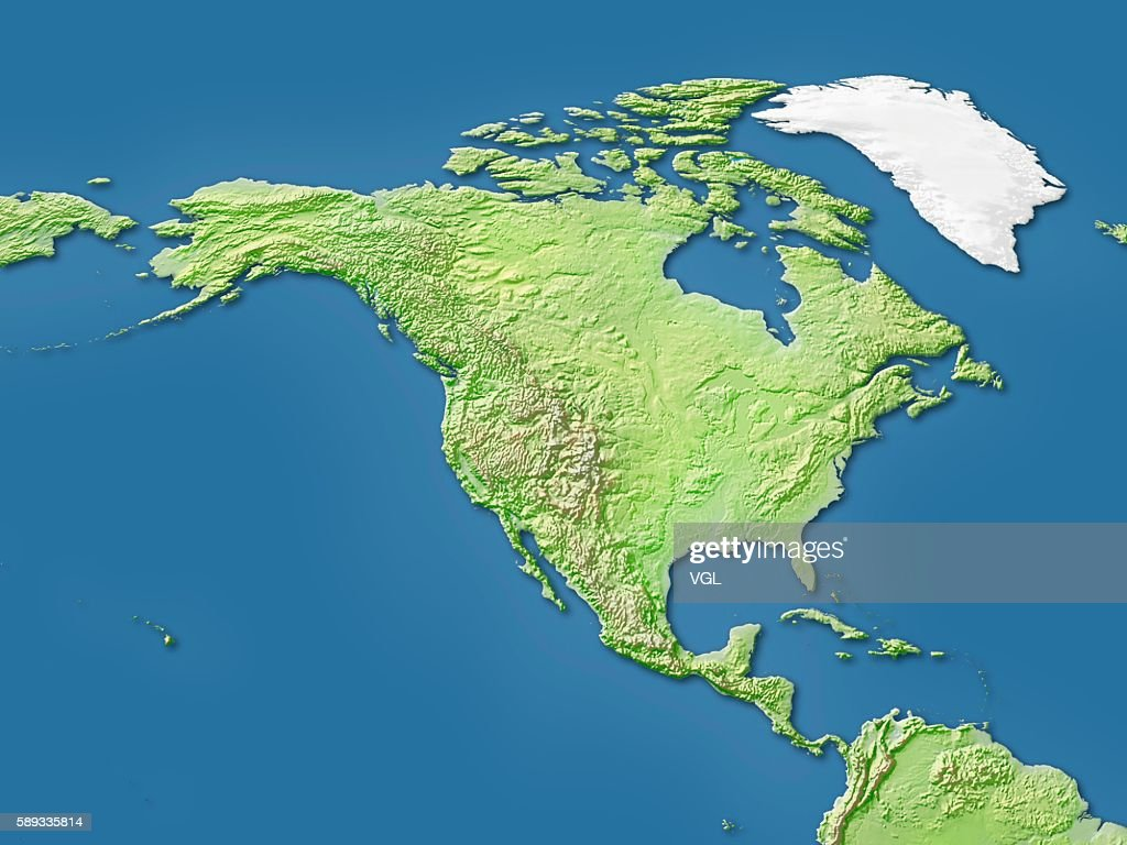 Map Of North America Canada And Central America Stock Photo ...