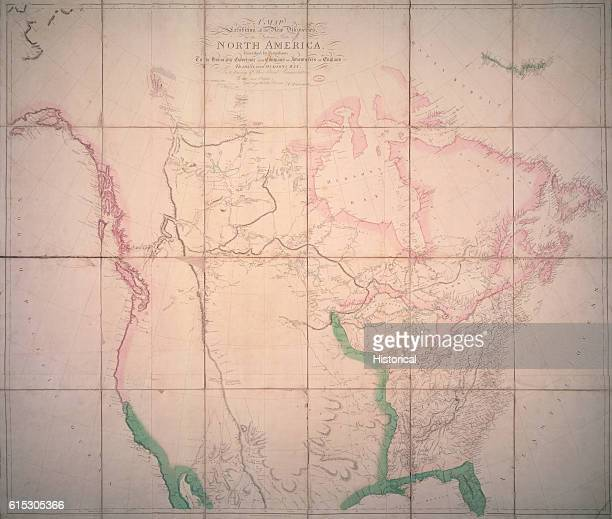 A map of North America dedicated to the Governor of the Hudson's Bay Company Proportionally excellent it shows new discoveries in Canada but much of...