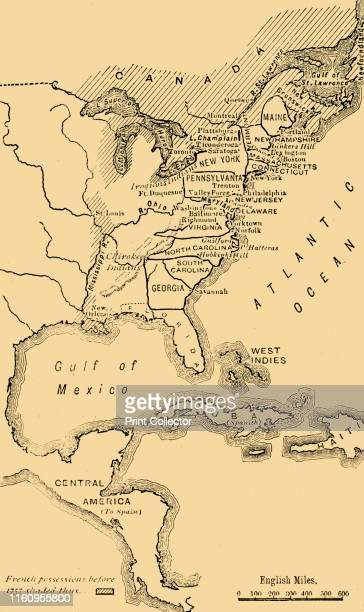 Map of North America Illustrating the American War of Independence' circa 1785 The American Revolutionary War or American War of Independence between...