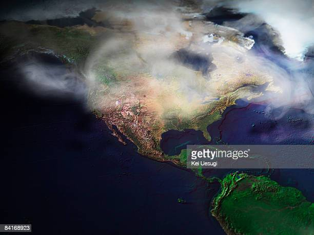 Map of North America in fog