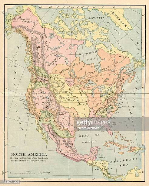 Map of North America showing the structure of the continent and the distribution of the major aboriginal or Native American Indian tribes prior to...