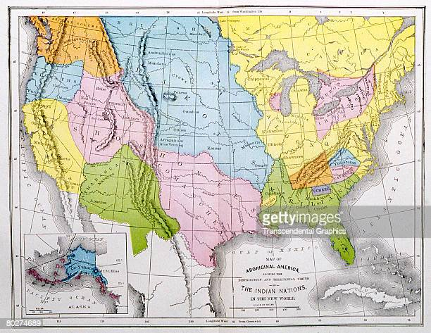 Map of North America which shows the territorial distribution of various Native American nations Dakota Algonquin and Shoshone the largest among them...
