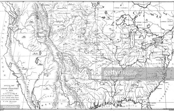 Map of North America with locations of Native American ...