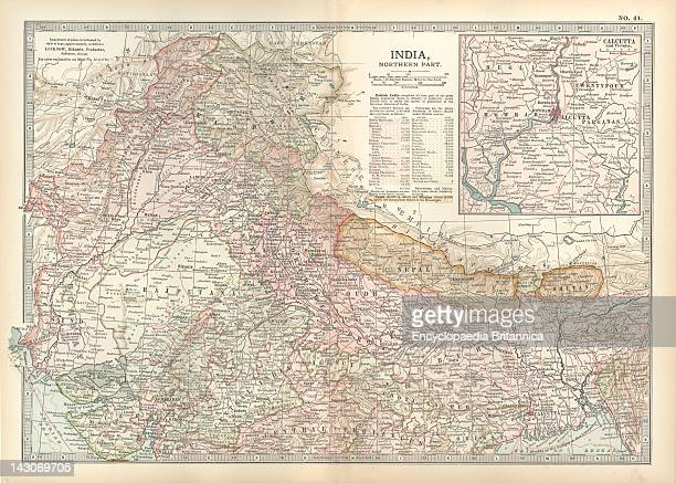 Map Of Northern India With Calcutta Map Showing The Historical Boundaries Of The Northern Part Of India With An Inset Map Of Calcutta Circa 1902 From...