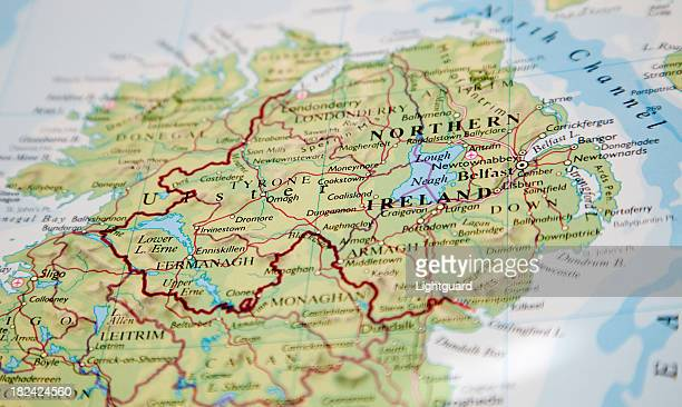 map of northern ireland - northern ireland stock photos and pictures