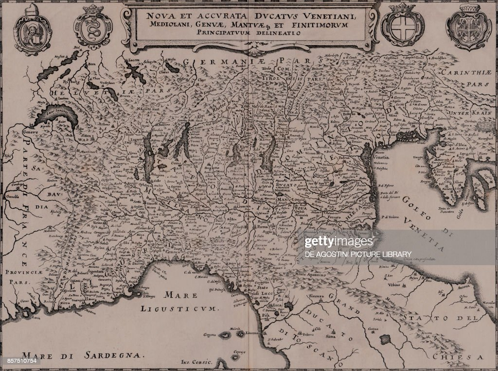 Map of Northern Italy with coats of arms of Republic of Venice ...