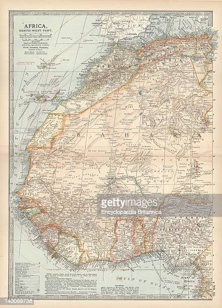 Map Of Northwestern Africa Map Of Northwest Africa With Morocco Algeria Tunis Sahara Senegal Portuguese Guinea Circa 1902 From The 10Th Edition Of...