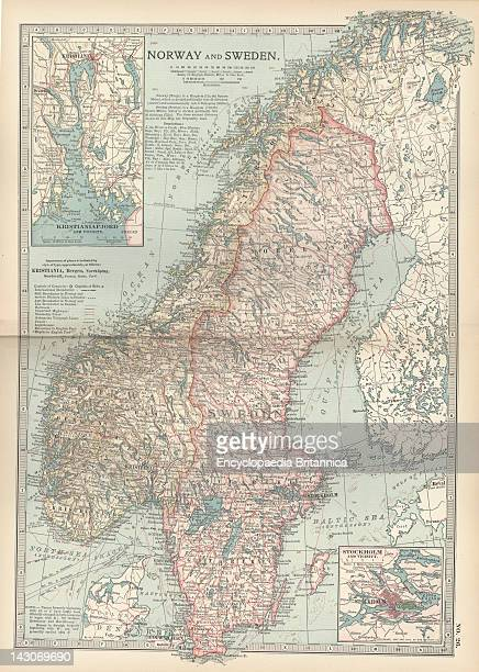 Map Of Norway And Sweden Map Of Norway Sweden With Insets Of Kristianiafjord And Stockholm Circa 1902 From The 10Th Edition Of Encyclopaedia...