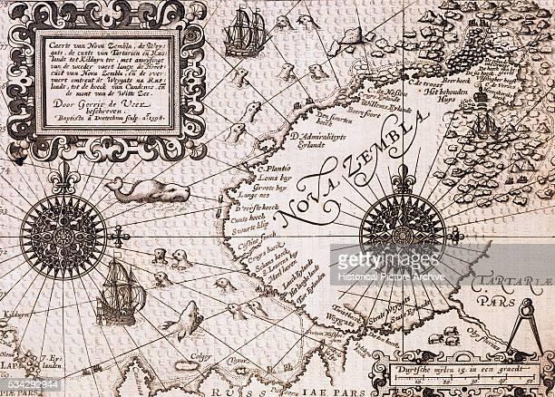 'Map of Nova Zembla from Diarium Nauticum seu vera descriptio trium navigationum admirandarum by Gerrit de Veer '