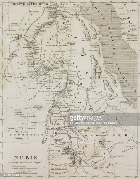 Map of Nubia from Ethiopia to Upper Egypt from Senegambie et Guinee by Tardieu Nubie by Cherubini Abyssinie by Desvergers L'Univers pittoresque...