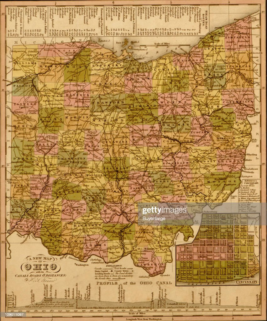Map Of Ohio, 1844 Pictures | Getty Images