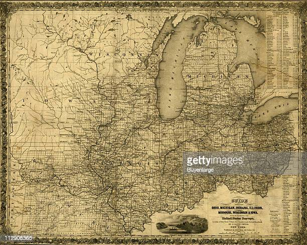 Map of Ohio Michigan Indiana Illinois Missouri Wisconsin Iowa which shows rail road and steamboat routes 1840 Illustration by J Calvin Smith