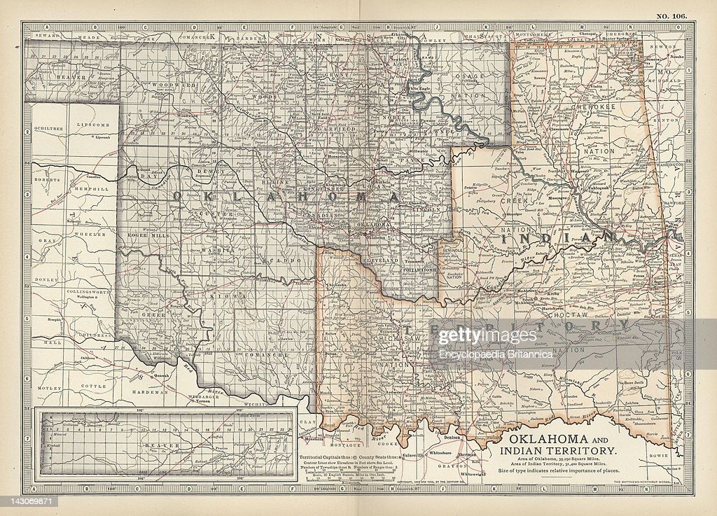 Map Of Oklahoma And The Indian Territory Pictures Getty Images - Us map of indian territories