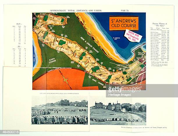 Map of Old Course St Andrews Open Championship and photographs of the seventeenth hole at St Andrews