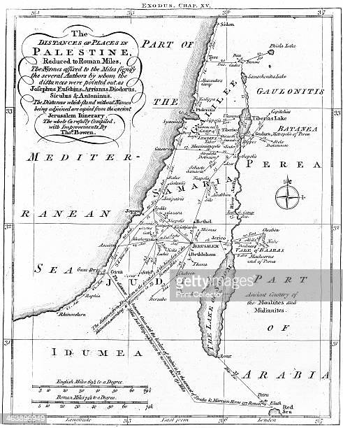 Map of Palestine showing distances in Roman miles based on various ancient authors and the Jerusalem Itinerary Engraving c1830