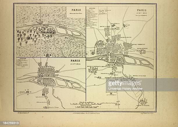 Map Of Paris In 60 BC In The 4Th Century And In The 12Th Century France