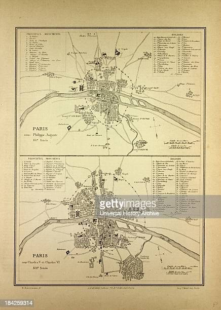 Map Of Paris In The 12Th Century And In The 14Th Century France