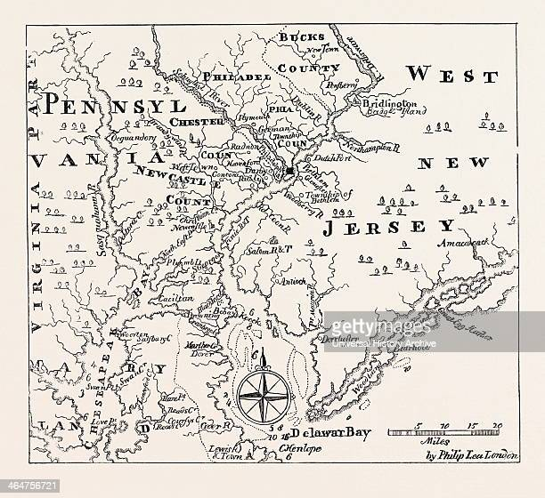Map Of Pennsylvania And West New Jersey From Thomas's History Of Pennsylvaniaunited States Of America US USA 1870s Engraving