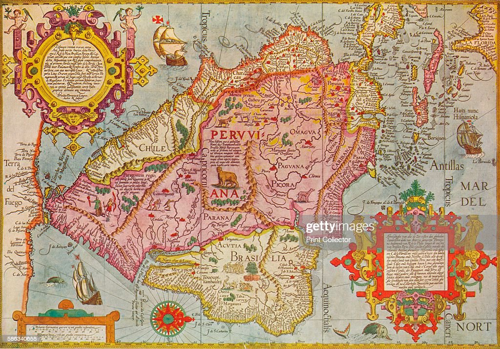 Map of peru circa 1599 pictures getty images map of peru circa 1599 a map of south america and the caribbean gumiabroncs Image collections