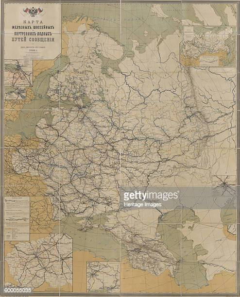 Map of Roads Railroads and Inland Waterways of the Russian Empire 1893 Found in the collection of State Museum of Revolution Moscow Artist Anonymous...