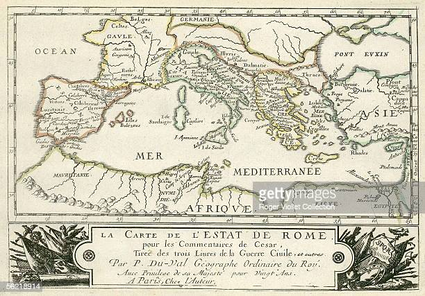 Map of Roman empire of Julius Caesar for his 'Commentaries'