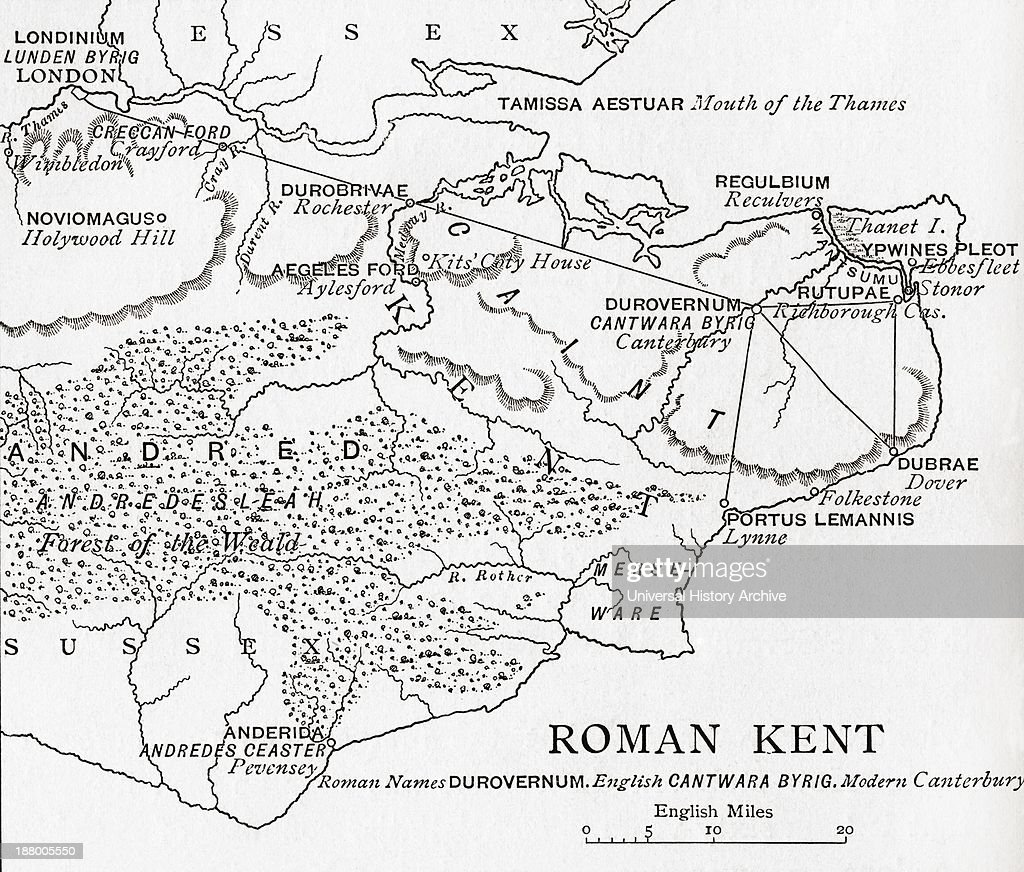 Map Of Roman Kent, England  From The Book Short History Of The