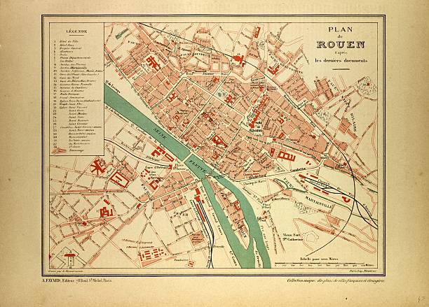 Map Of Rouen, France Pictures | Getty Images
