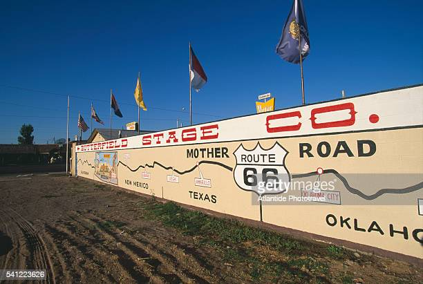 Map of Route 66 on Painted Wall