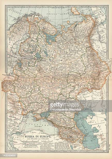 Map Of Russia, Map Showing Historical Boundaries Of Russia In Europe With Poland And Finland, Circa 1902, From The 10Th Edition Of Encyclopaedia...