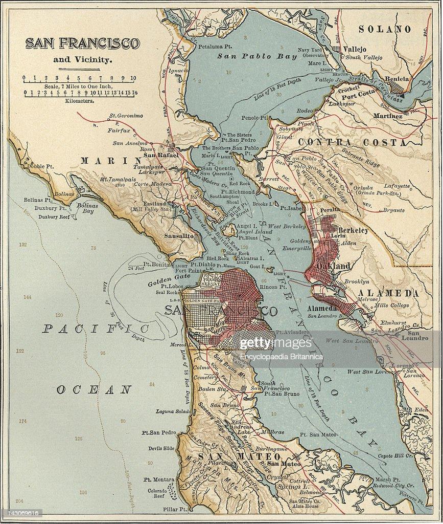 san francisco map 1900 Map Of San Francisco Bay Map Of San Francisco Bay Circa 1900