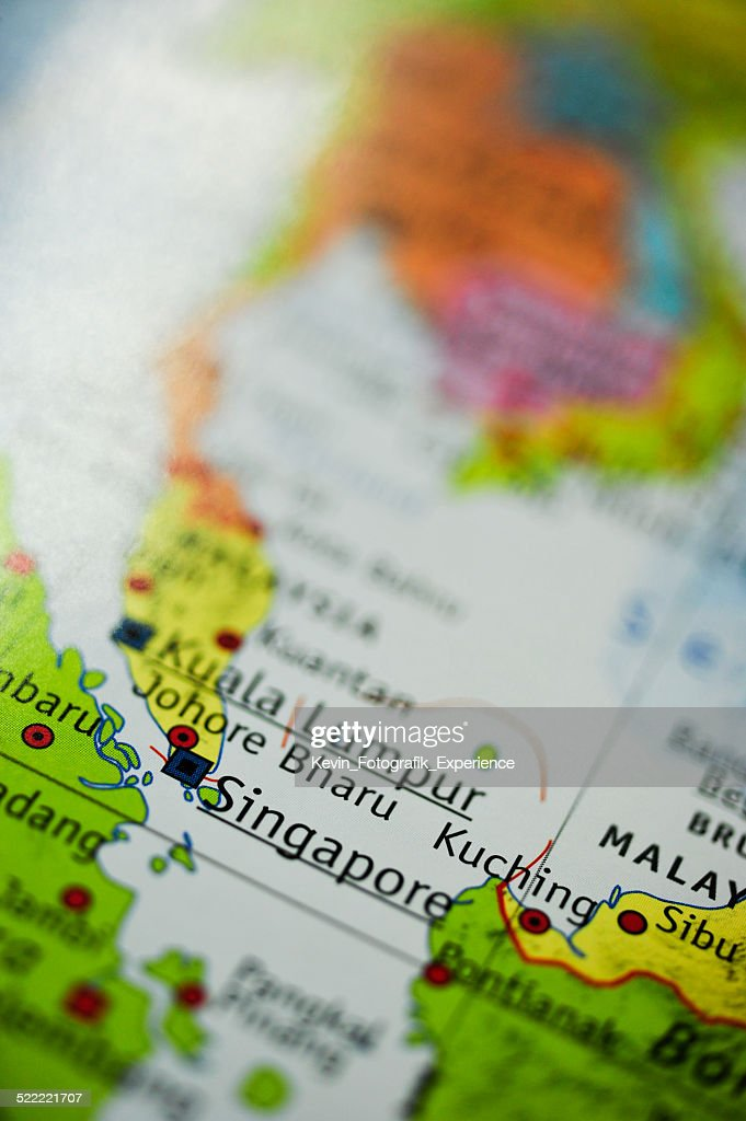 Map Of Singapore And Surrounding Countries : Stock Photo