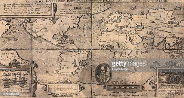 Map of Sir Francis Drake's circumnavigation of the world 1581 Illustration by Nicola van Sype published in Belgium