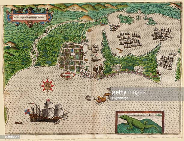 Map of Sir Francis Drake's Voyage to the West Indies 1589