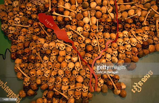 A map of skulls at S-21 or Tuol Sleng Museum in Phnom Penh. Known as the Museum of Genocidal Crimes (S-21), the former school was used by the Khmer Rouge as a detention and torture centre throughout the regime.