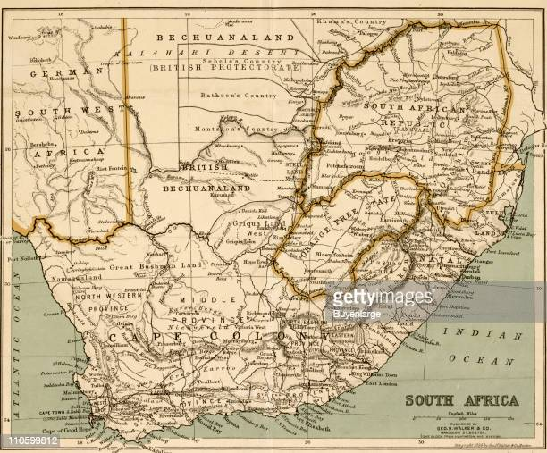 Map of South Africa 1899 Illustration by George Walker Com