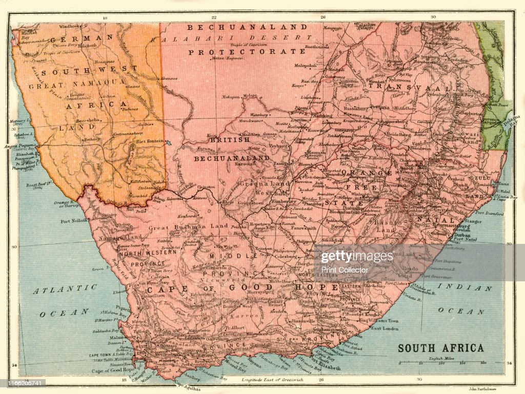 Map of South Africa, circa 1914, . Map of the southern tip ...