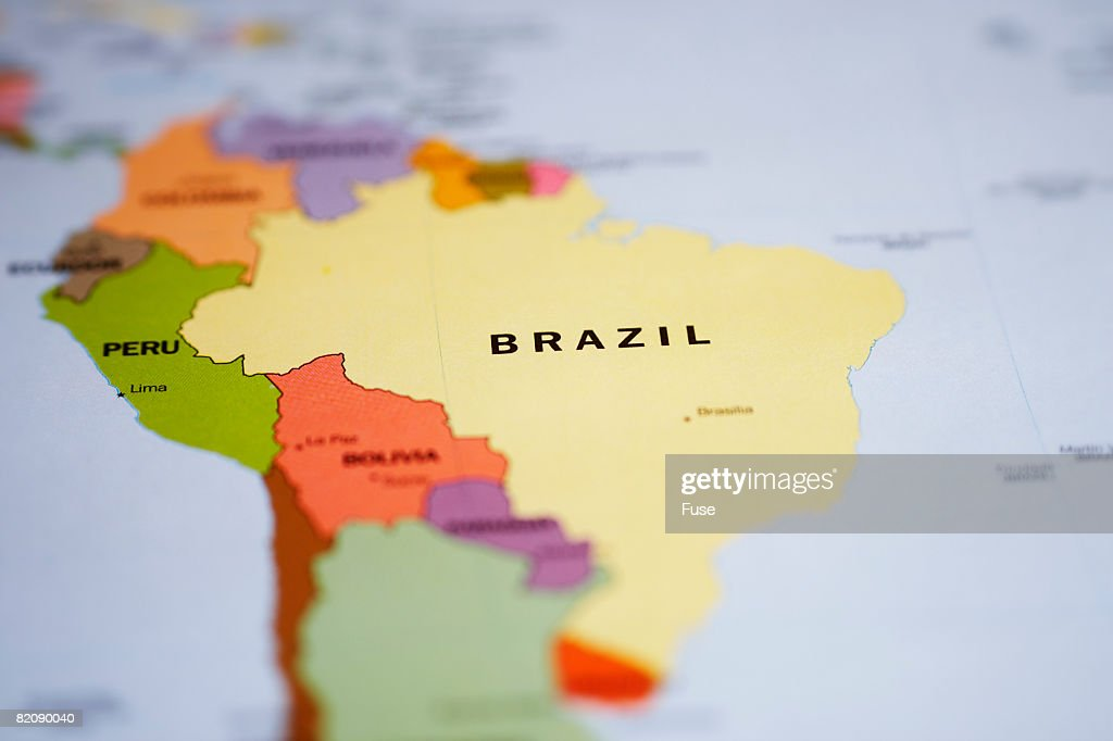 Map Of South America And Brazil Stock Photo Getty Images - Brazil south america map