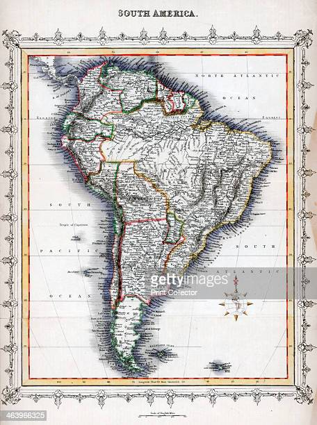 Map of South America Handcoloured later