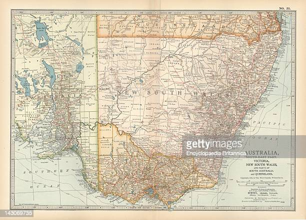 Map Of Southeast Australia Map Of Southeast Australia With Victoria New South Wales And Parts Of South Australia And Queensland Circa 1902 From The...