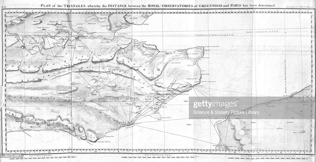Triangular plan 19th century pictures getty images a map of south east england and northern france showing calculations of the distance between gumiabroncs Gallery
