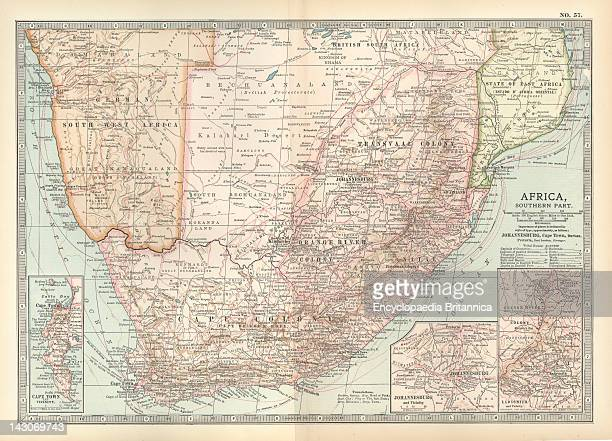 Map Of Southern Africa Map Of Colonial Southern Africa With Insets Of Cape Town Johannesburg And Ladysmith Circa 1902 From The 10Th Edition Of...