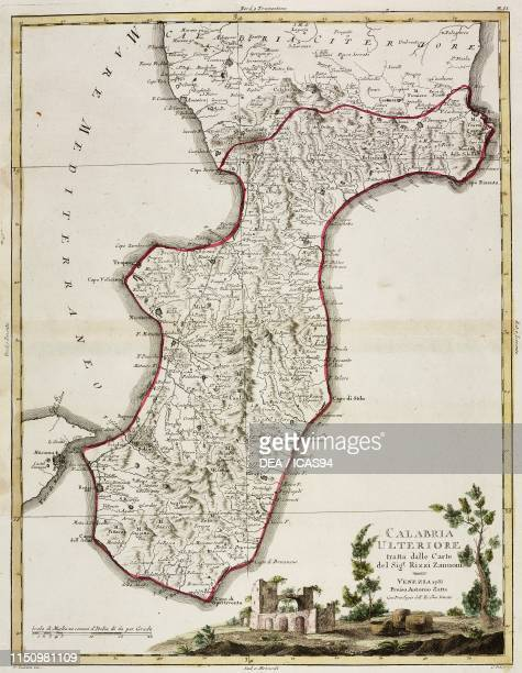 Map of southern Calabria, Italy, engraving by Zuliani after a drawing by Pitteri, from Atlante Novissimo , Volume III, published by Antonio Zatta,...