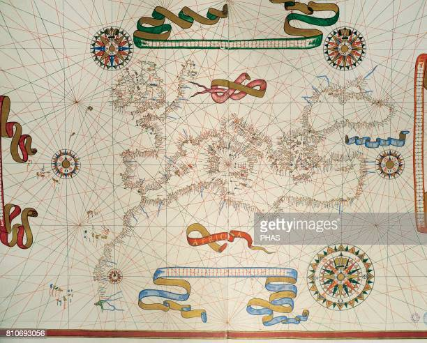 Map of Southern Europe coast of the North of Africa and Canary Islands Nautical letter by Joan Martines Messina Sicily 1587