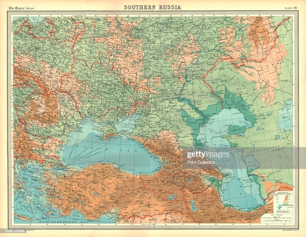 Map of Southern Russia. Map showing the Black Sea, the Caspian Sea ...