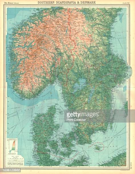 Map of Southern Scandinavia and Denmark Plate 42 from The Times Atlas Artist Unknown