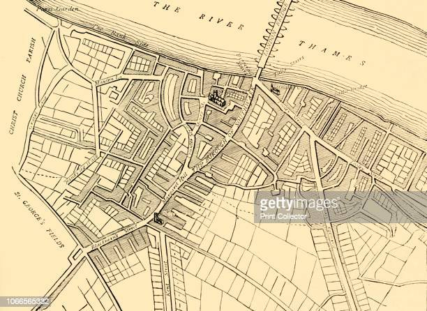 Map of Southwark 1720' Map showing the village of Southwark on the south bank of the River Thames in what is now part of greater London Places shown...