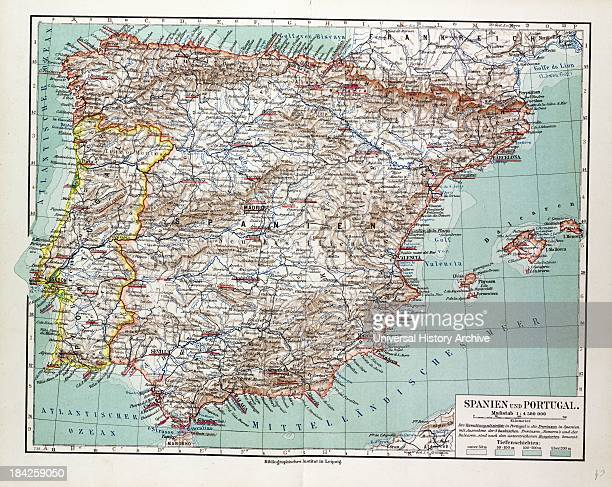 Map Of Spain And Portugal 1899