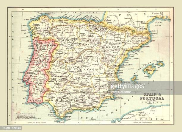 Map of Spain and Portugal 1902 Showing the various provinces and the Balearic Islands From The Century Atlas of the World [John Walker Co Ltd London...