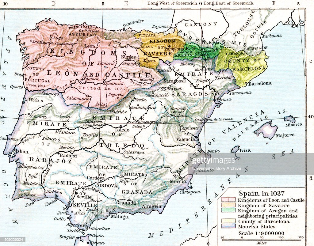 Map of Spain in 1037 showing the kingdoms of Len and Castile